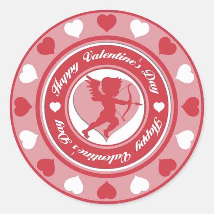 Red Valentine's Day Cupid and Hearts Round Sticker