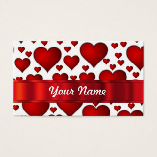 Red valentines heart business card