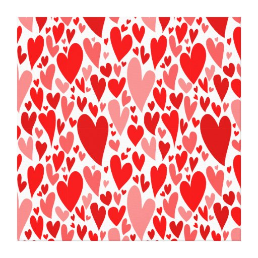 Red Valentine's hearts Wrapped Canvas Canvas Print