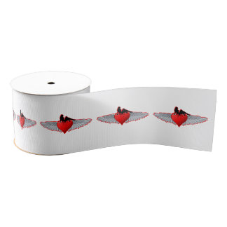 Red Valentines love heart tattoo style Grosgrain Ribbon