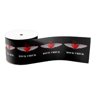 Red Valentines rock chick heart tattoo style Grosgrain Ribbon