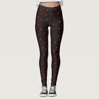 Red Valentones Hearts Seamless Pattern Leggings