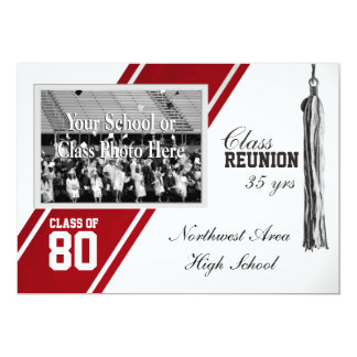 Red Varsity Stripe with Photo Class Reunion 5x7 Paper Invitation Card