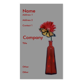 Red Vase,  Flower, and Butterfly Pack Of Standard Business Cards