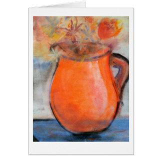 Red Vase Note Card in Brad Hines Pastel Painting