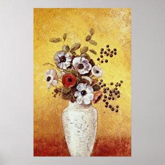 Red Vase of Flowers, Odilon Redon flowers Poster