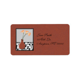 Red Vase w/Flowers on a Tiled Table Address Labels