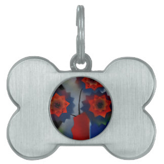 Red vase with flowers pet tag