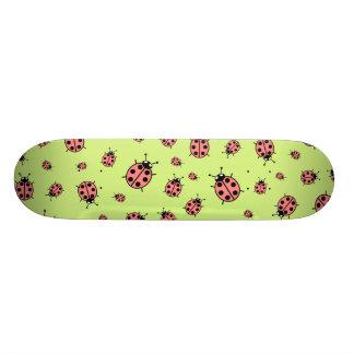 Red Vector Ladybugs Green Background Skateboard Decks
