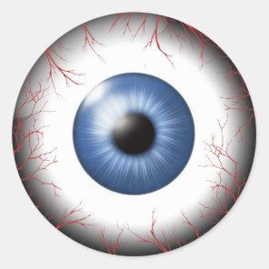 Red Vein Eyeballs Blue ID541 Classic Round Sticker