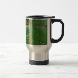 Red veined leaf stainless steel travel mug