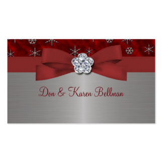 Red Velour & Silver Snowflakes Business Card Templates