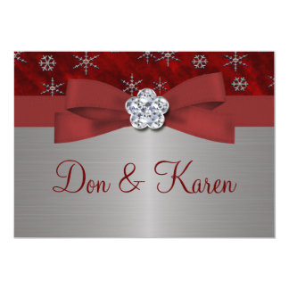 Red Velour & Silver Snowflakes 13 Cm X 18 Cm Invitation Card