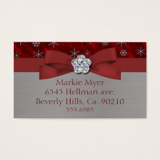 Red Velour & Silver Snowflakes Jewel