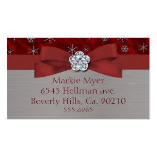 Red Velour & Silver Snowflakes Jewel Business Card Template