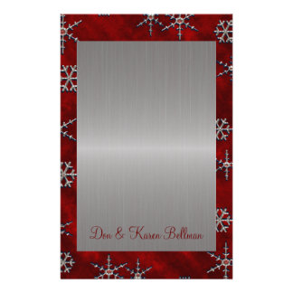 Red Velour & Silver Snowflakes Stationery