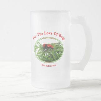 Red Velvet Ant Love Bugs Frosted Glass Mug