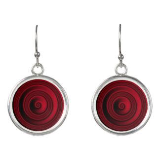 Red Velvet Circle Drop Earrings