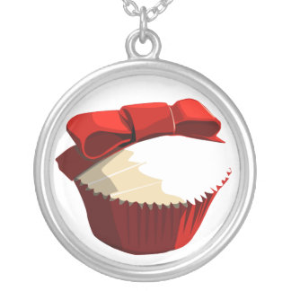 Red velvet cupcake with bow necklace