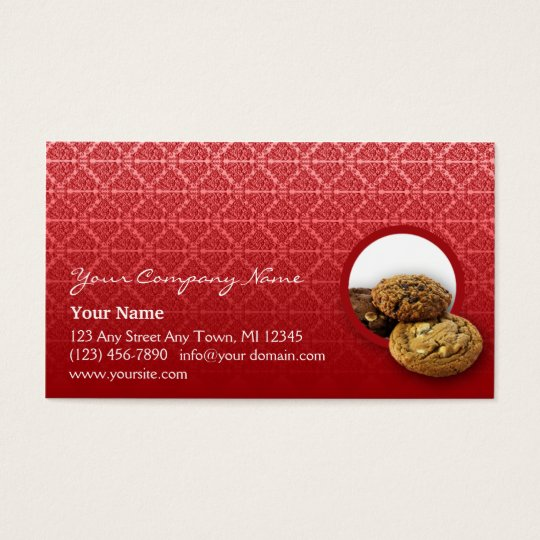 Red Velvet Damask Desserts Business Business Card