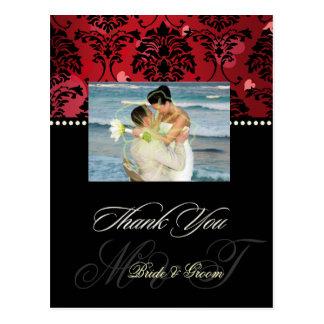 Red Velvet + Hearts Damask Wedding Photo Thank you Postcards
