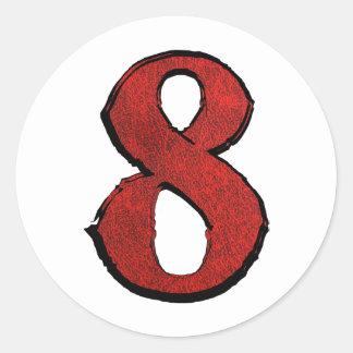 Red Velvet Holiday Number Series. Round Sticker