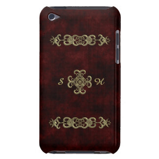 Red Velvet With Golden Ornament Barely There iPod Covers