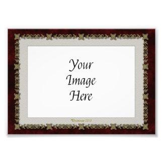 Red Velvet With Golden Ornament Photo Print
