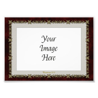 Red Velvet With Golden Ornament Photographic Print