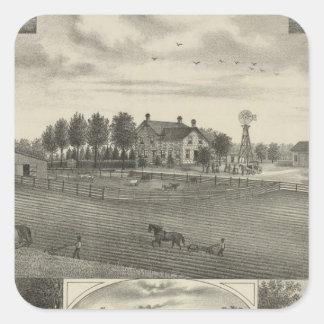 Red Vermillion Stock Farm, Havensville, Kansas Square Sticker