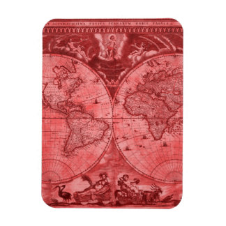 Red Version Antique World Map J Blaeu 1664 Rectangular Magnet