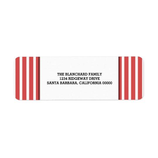 Red Vertical Festive Stripes Holiday Return Address Label