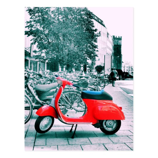 Red Vespa in Munich Postcard