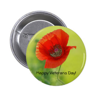 Red Veterans Day Poppy Pin Back Button