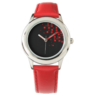 Red Vibrant Geometric Square Pattern Black Simple Watch