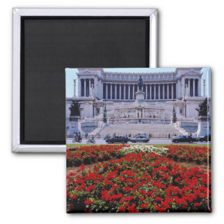 Red Victor Emmanuel Monument, Rome, Italy flowers Fridge Magnet
