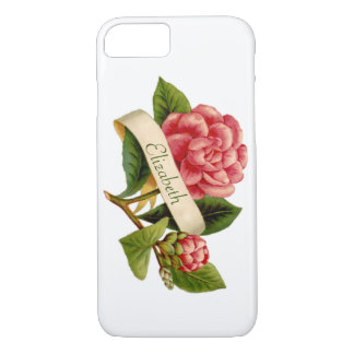 Red Victorian Flower & Monogrammed Ribbon iPhone 7 Case