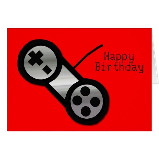 Red Vidoe Gaming Birthday Card