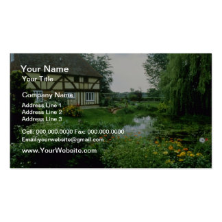 Red View Of 15th Century House With Marigolds, Ach Business Cards