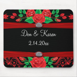 Red Vine Roses On Black Mouse Pad
