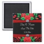 Red Vine Roses On Black Save The Date Fridge Magnet