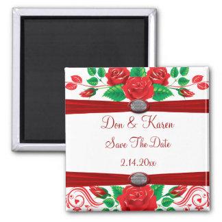 Red Vine Roses On White Date Saver Fridge Magnet