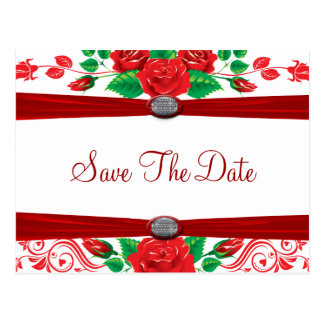 Red Vine Roses On White Save The Date Postcard
