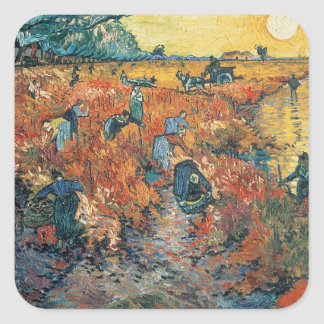 Red Vineyards at Arles, 1888 Square Sticker