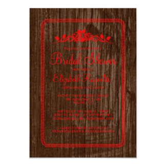Red Vintage Barn Wood Bridal Shower Invitations Invite