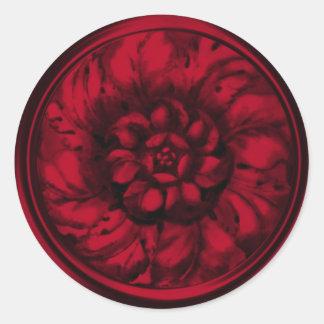 Red Vintage Baroque Embossed Look Seal Round Sticker