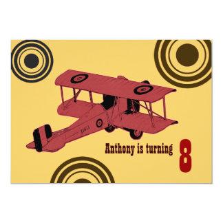 red vintage biplane boy's birthday invite