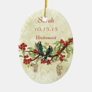 Red Vintage Bird Bridesmaid Ornaments