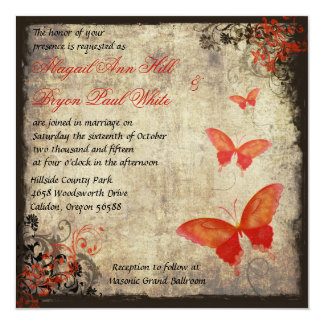Red Vintage Butterfly Wedding Invitation