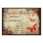 Red Vintage Butterfly Wedding RSVP Card